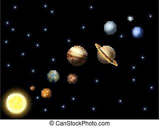 arte, gioco, pezzo, sistema, 8, solare, pixel, arcata, video