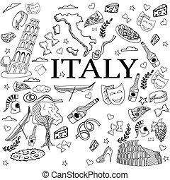 arte, illustrazione, vettore, disegno, italia, linea