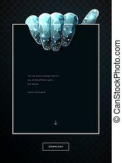 arte, immagine, poly, poligono, wireframe, polygonal, fondo., basso, presa a terra, maglia, punti, text., illustrazione, mano, scuro, lines., collegato, copia, pasta, pezzo, paper., vettore, 3d, o