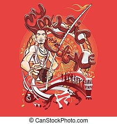 arte, m, marziale, capoeira, brasiliano, mio