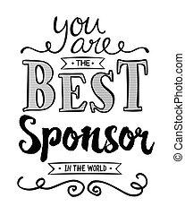 arte, manifesto, tipografico, sponsor, mondo, lei, meglio