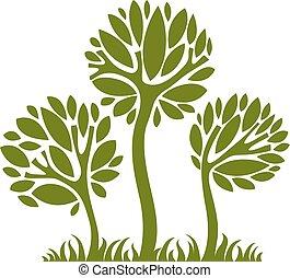 arte, natura, immagine, simbolico, illustrazione, creativo, idea., albero, vettore, foresta, concept., pianta