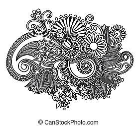 arte, ornare, disegno, fiore, linea