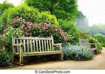 arte, parco, mattina, inglese, panca, fiori