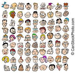 arte, persone, scarabocchiare, icone, faccia, caratteri, espressione, cartone animato, felice