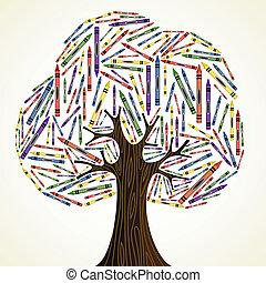 arte, scuola, concetto, albero, educazione