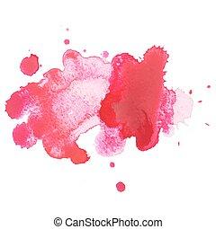 arte, splatter, astratto, goccia, illustrazione, mano, vernice acquarellatura, vettore, fondo, aquarelle, disegnato, bianco, macchia, rosso