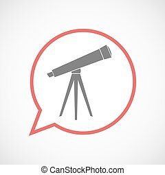 arte, telescopio, balloon, isolato, linea, comico, icona