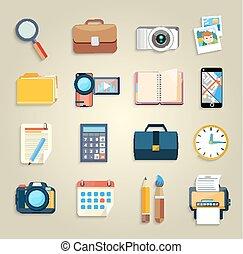 articoli, marketing, affari, icone ufficio