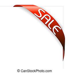 articoli, nastro, vendita, rosso, angolo