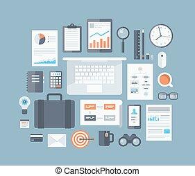 articoli, set, appartamento, icone affari