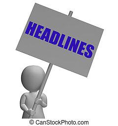 articoli, significato, urgente, protesta, importante, tabloids, notizie, titoli, bandiera