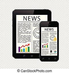 articoli, tavoletta, telefono, mobile, isolato, pc, fondo, notizie, trasparente