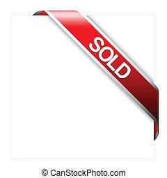 articoli, venduto, nastro, rosso, angolo
