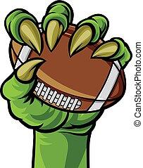 artiglio, mostro, football tiene, mano, palla