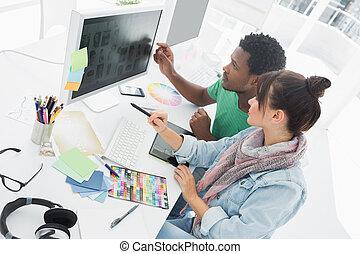 artisti, lavorativo, due, ufficio, computer