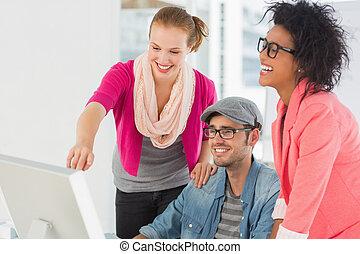 artisti, lavorativo, tre, allegro, computer