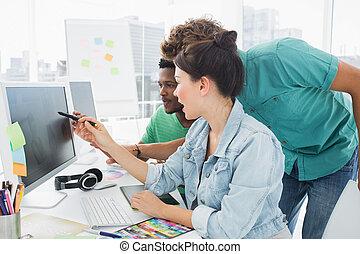 artisti, lavorativo, tre, ufficio, computer