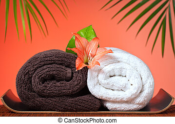 asciugamani, lusso, fondo, bagno