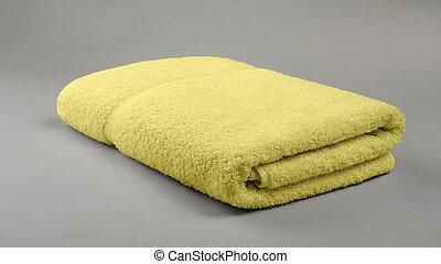 asciugamano, fondo, grigio, piegato, bagno, spazio, copia, giallo