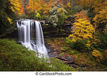 asciutto, blu, altopiani, cresta, montagne, nc, cadute, foresta autunno, fogliame, cascate, gola, cadere, cullasaja