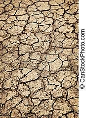 asciutto, durante, fesso, siccità, suolo