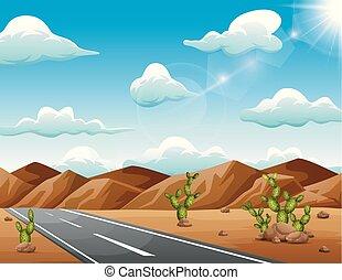 asciutto, montagne, condurre, attraverso, deserto, strada