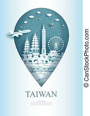 asia, architettura, perno, viaggiare, monumento, ancient., taiwan, porcellana
