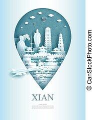 asia, architettura, perno, viaggiare, monumento, ancient., xian, porcellana