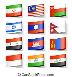 asia., flags., mondo