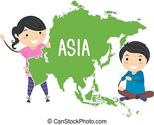 asia, stickman, bambini, illustrazione, continente
