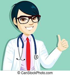 asiatico, su, dottore, pollici