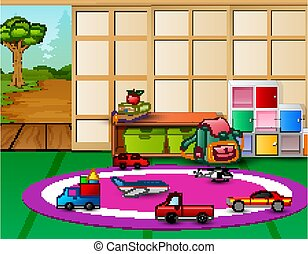 asilo, interno, playroom, aperto, giocattoli, porta