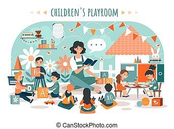 asilo, vettore, illustrazione, bambini, bambini, insegnante, playroom, persone