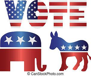 asino, democratico, illustrazione, elefante, voto, repubblicano