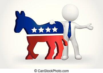 asino, stati uniti, persone, democratici, piccolo, 3d