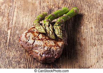 asparago, succoso, cotto ferri, bistecca