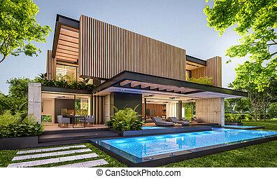 asse, facciata, casa, 3d, legno, moderno, interpretazione, sera