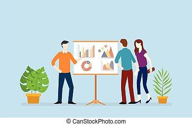 asse, grafico, grafico, vettore, squadra affari, analizzare, dati, presentazione