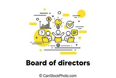asse, icon., riunione, linea, affari esecutivi, lavoro squadra, vettore, concept., presidente, direttori, conferenza