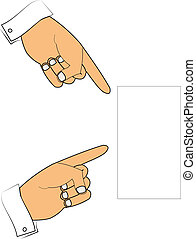 asse, indicare, mani