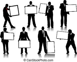 asse, persone, silhouette, annuncio pubblicitario, ufficio