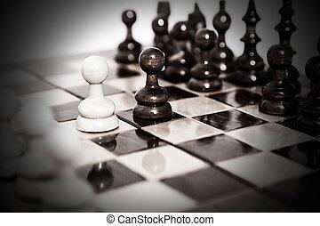 asse, spostare, scacchi, secondo, primo