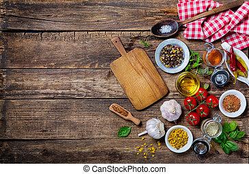 asse, tavola, ingredienti, cottura, legno, vecchio, vuoto, taglio