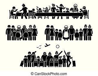 assemblea, activities., famiglia, grande, parenti, riunione