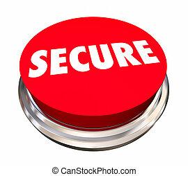 assicurare, bottone, illustrazione, crimine, sicurezza protezione, prevenzione, 3d