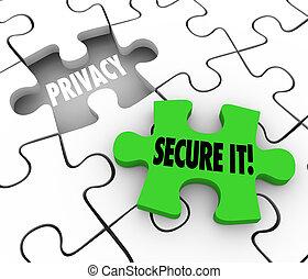 assicurare, intimità, puzzle, esso, privato, divario, informat, sicurezza, parole, pezzo