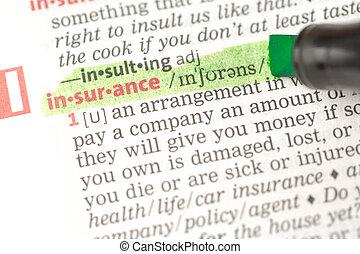assicurazione, evidenziato, definizione, verde