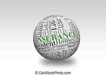 assicurazione, palla, 3d