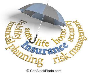 assicurazione, pianificazione, rischio, agenzia, ombrello, servizi